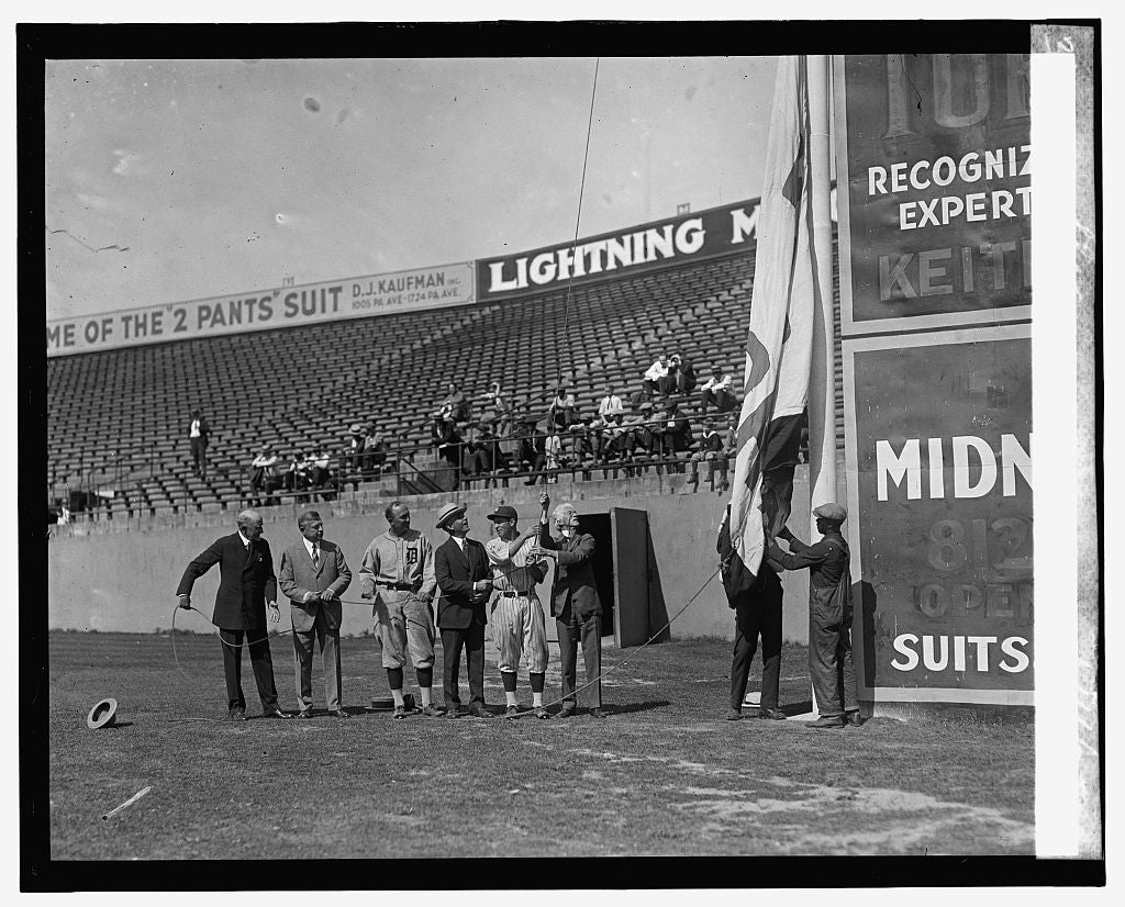 16 x 20 Reprinted Old Photo ofRaising of World Champions flag, 6/11/25 1925 National Photo Co  83a