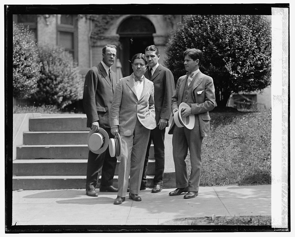 16 x 20 Reprinted Old Photo ofGeo. Middleton, Robt. La Follette, Ralph Sucher & Phil. La Follette, 6/19/25 1925 National Photo Co  19a