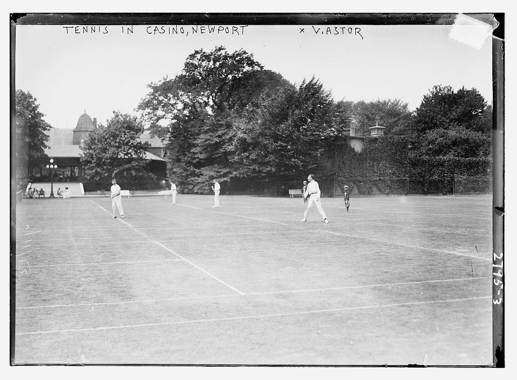 8 x 10 Photo of Tennis in Casino, Newport V. Astor 1913 G. Bain Collection 40a