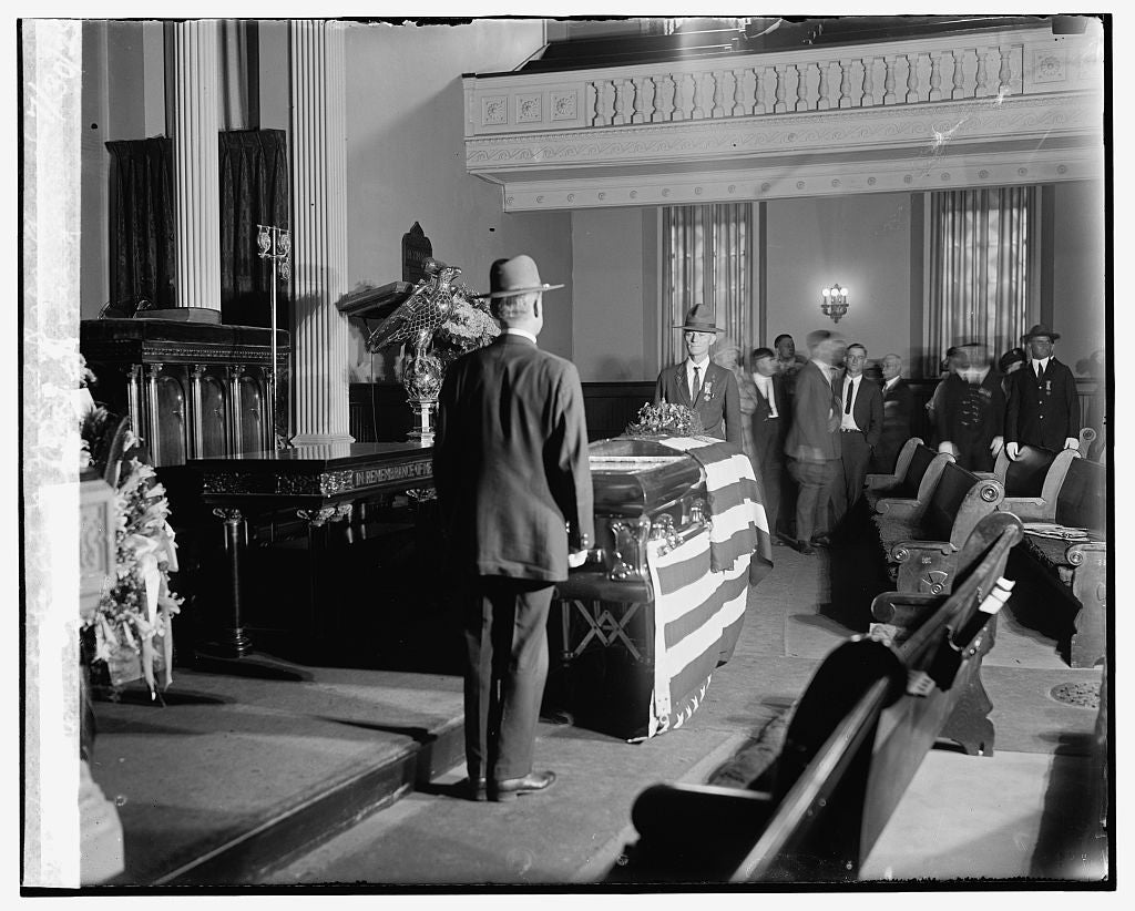 16 x 20 Reprinted Old Photo ofBody of Bryan lying in state at N.Y. Ave. Pres. church, 7/30/25 1925 National Photo Co  26a
