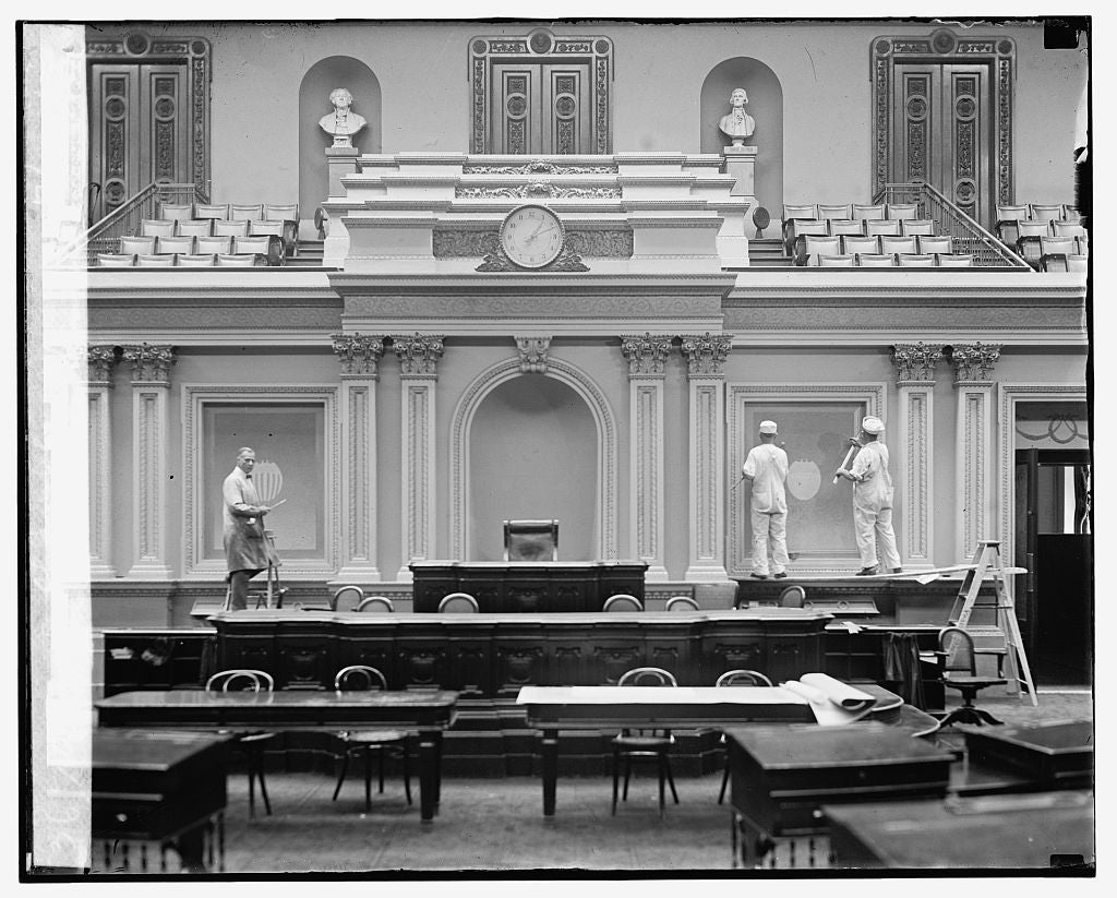 16 x 20 Reprinted Old Photo ofRedecorating senate chamber, 7/27/25 1925 National Photo Co  61a