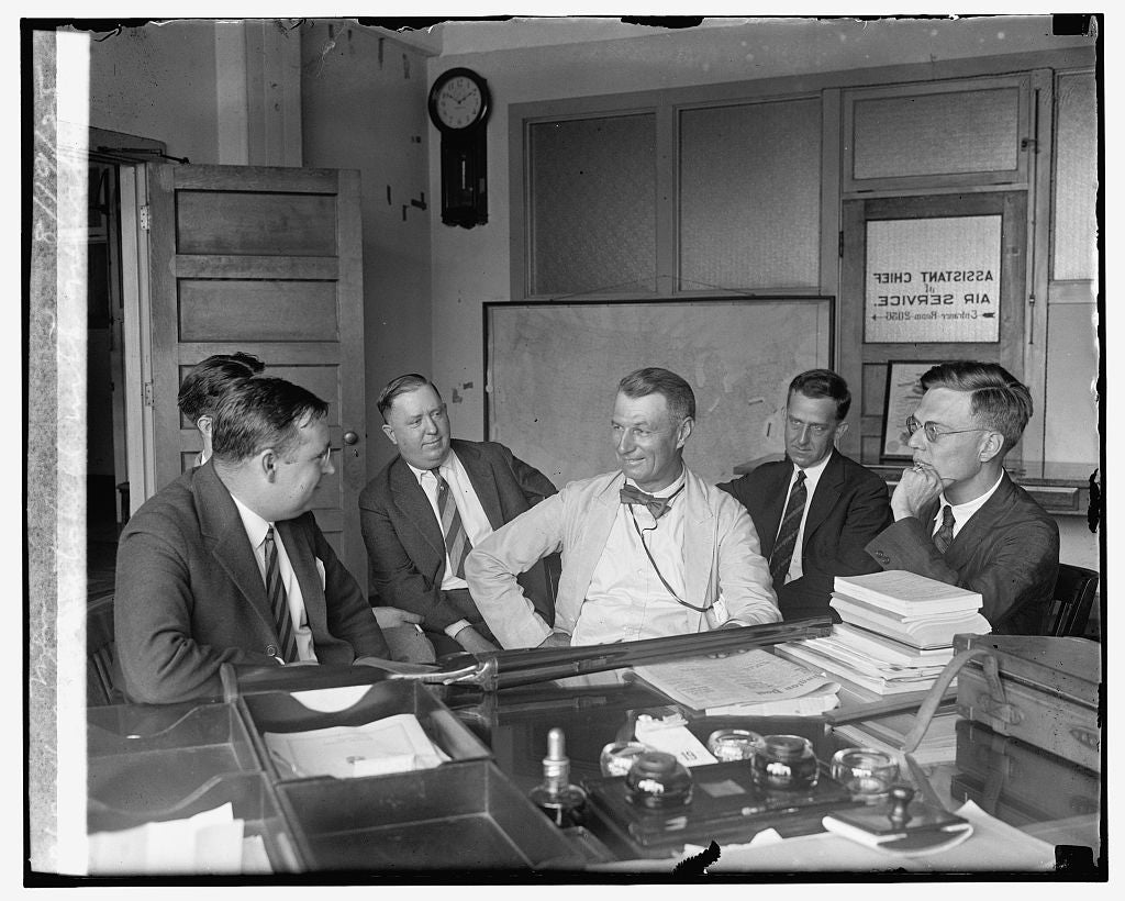 16 x 20 Reprinted Old Photo ofCol. Mitchell with newspapermen, 8/19/25 1925 National Photo Co  16a