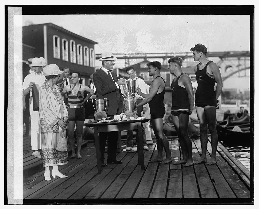 16 x 20 Reprinted Old Photo ofWilbur presenting Presidents Cup, 8/22/25 1925 National Photo Co  30a