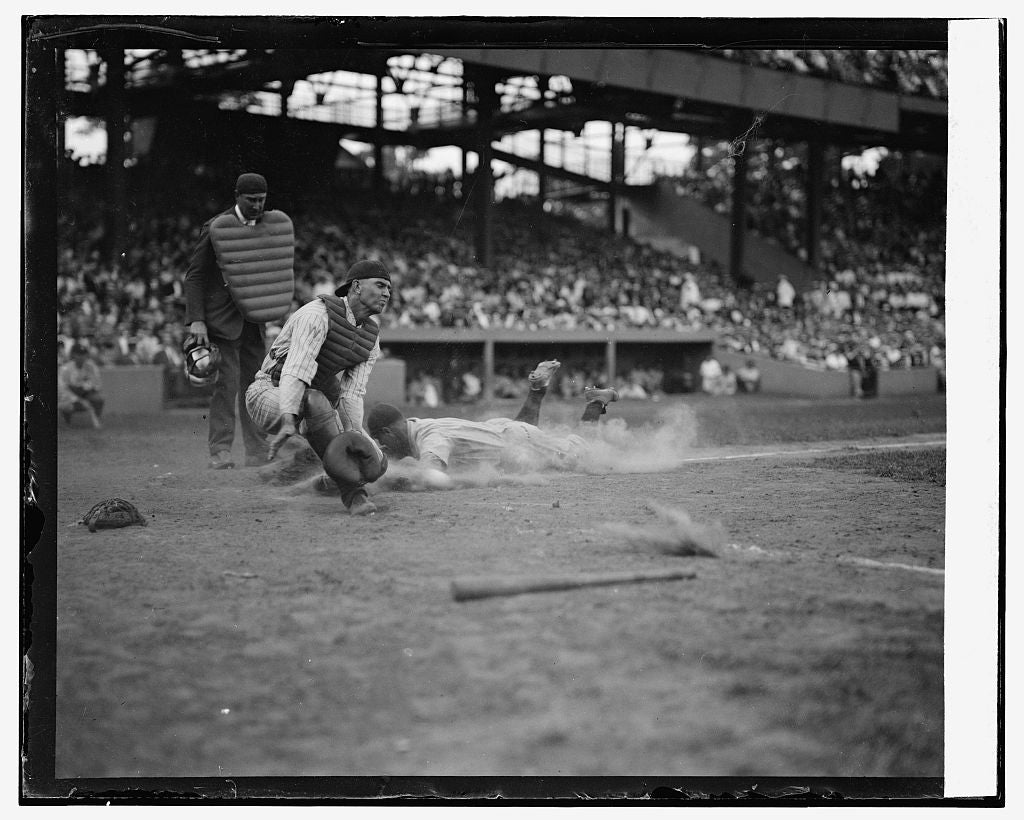 16 x 20 Gallery Wrapped Frame Art Canvas Print of Yankees Lou Gehrig scores head first in 4th inning as Joe Harris' throw gets away from catcher Hank Severeid of Senators.  1925 National Photo Co  34a