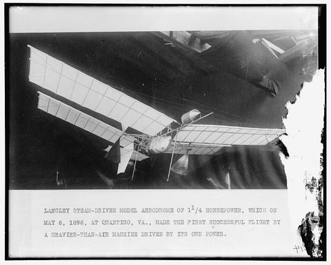 8 x 10 Reprinted Old Photo of Langley's Steam Model Airplane 1905-45 Harris & Ewing 79a