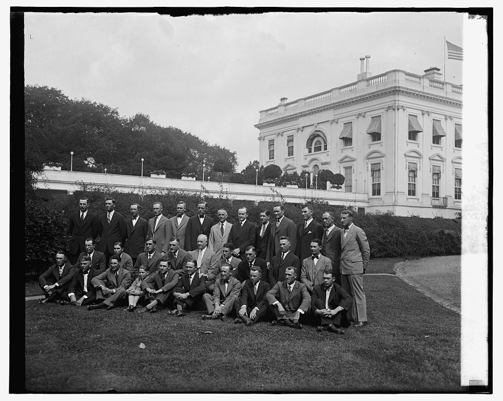 16 x 20 Gallery Wrapped Frame Art Canvas Print of Coolidge with Wash. Baseball team, 9/28/25 1925 National Photo Co  79a