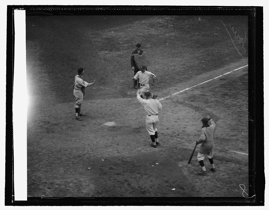 16 x 20 Reprinted Old Photo ofMcNeely scoring tying run. 7th in., 10/10/25 1925 National Photo Co  42a