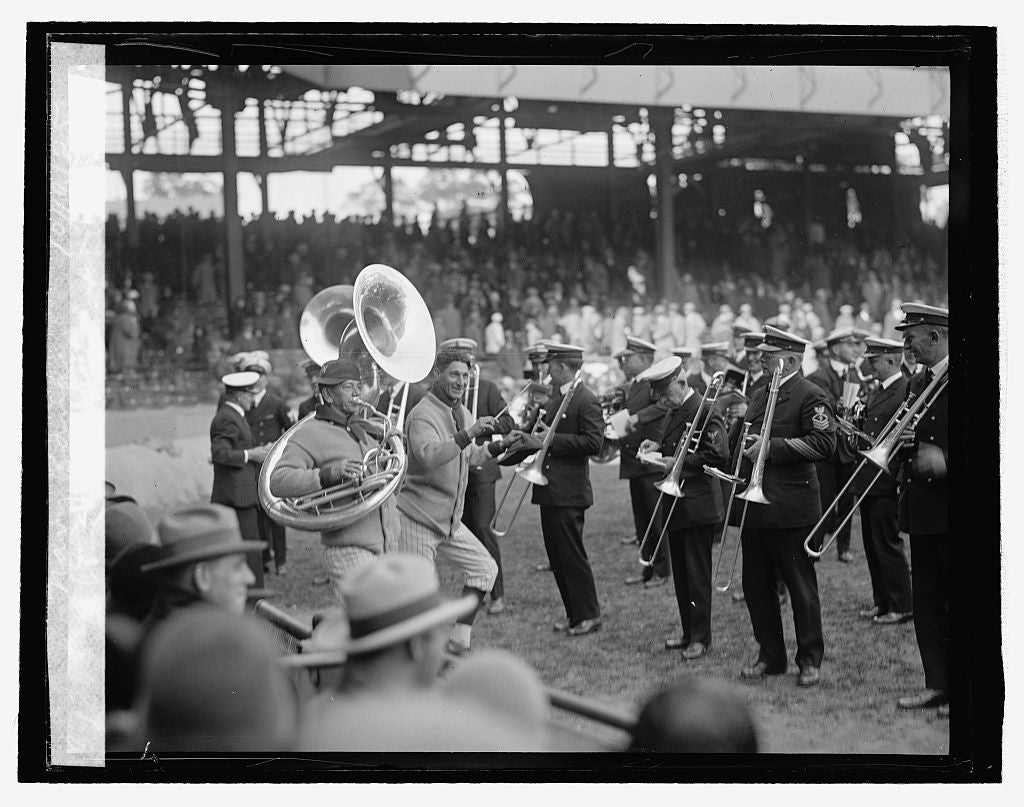 16 x 20 Reprinted Old Photo ofAltrock & Schacht with Navy Band, 10/10/25 1925 National Photo Co  54a