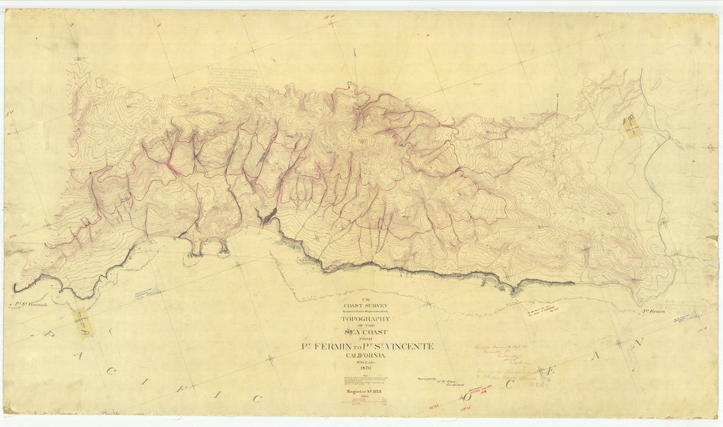 18 x 24 inch 1870 US old nautical map drawing chart of Sea Coast From Pt. Fermin to Pt. St. Vincente, CA From  U.S. Coast Survey x1716