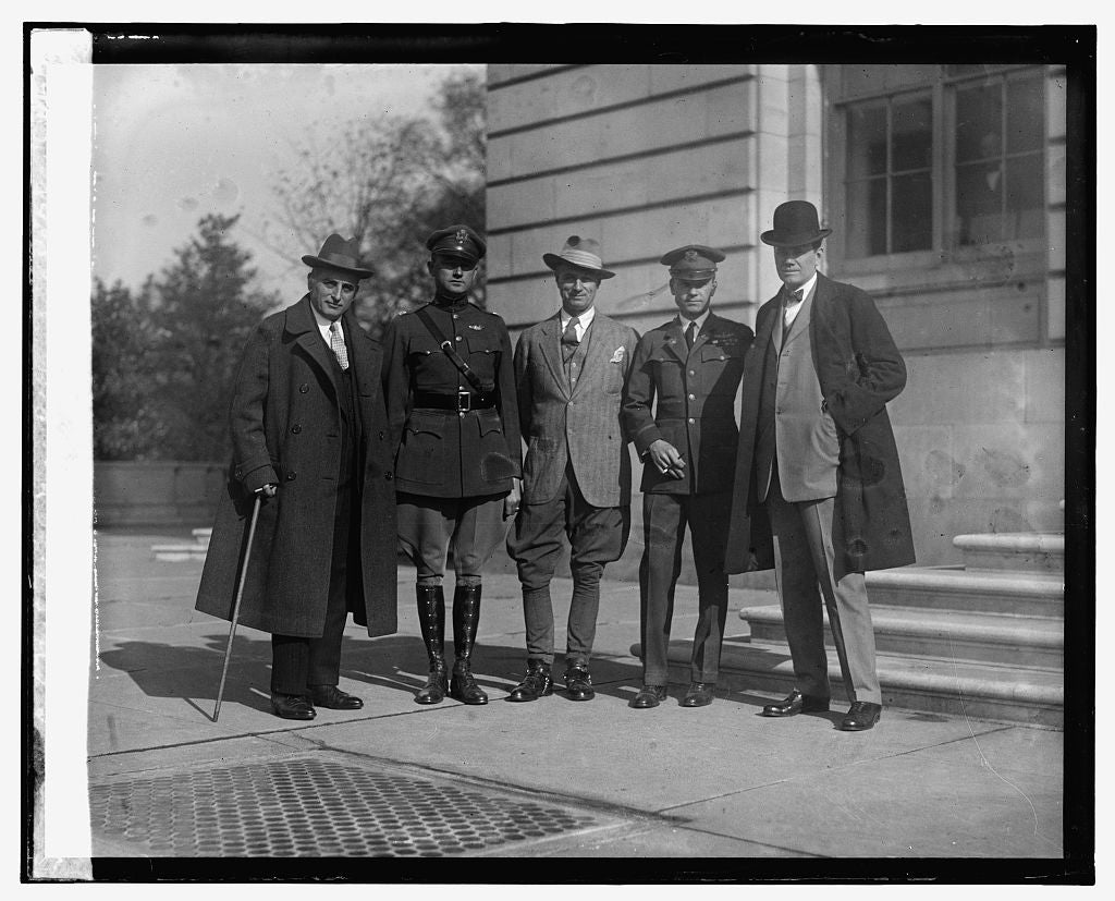 16 x 20 Gallery Wrapped Frame Art Canvas Print of Joseph Davies, Capt. Lowell Smith, Col. Mitchell, Maj. Bellings, Rep. Reid, 11/21/25 1925 National Photo Co  57a