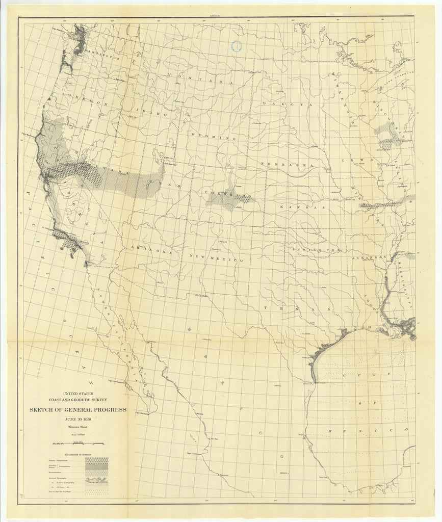 18 x 24 inch 1881 US old nautical map drawing chart of Sketch of General Progress, June 30, 1881, Western Sheet From  US Coast & Geodetic Survey x1237