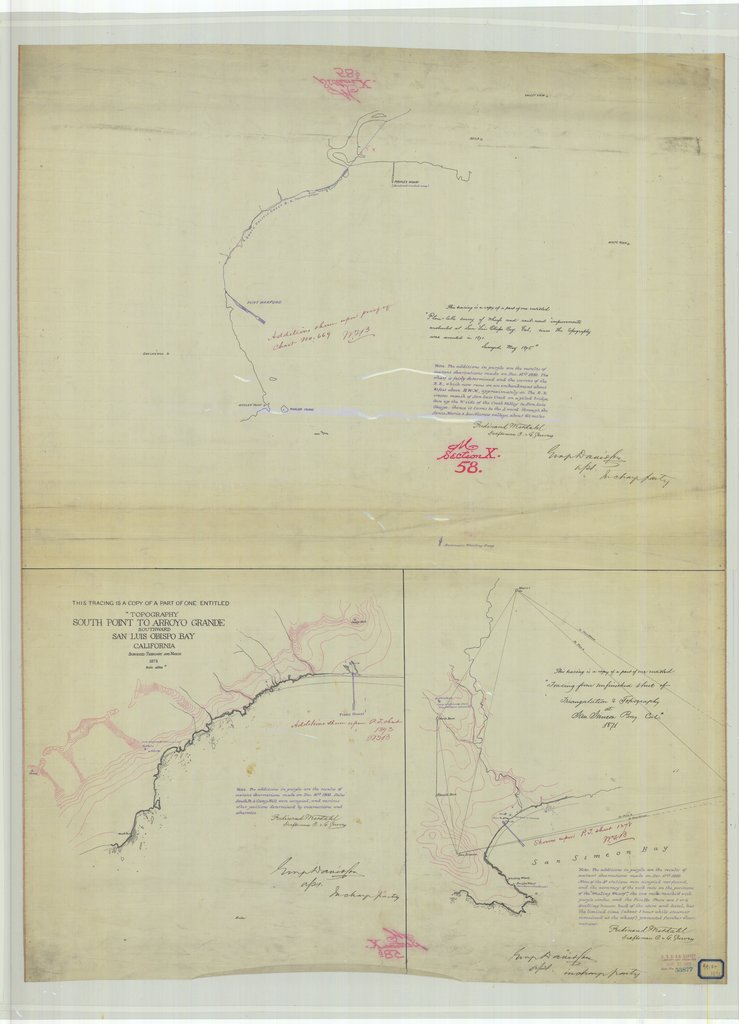 18 x 24 inch 1873 US old nautical map drawing chart of South Point to Arroyo Grande Southward San Luis Obispo Bay From  U.S. Coast Survey x475