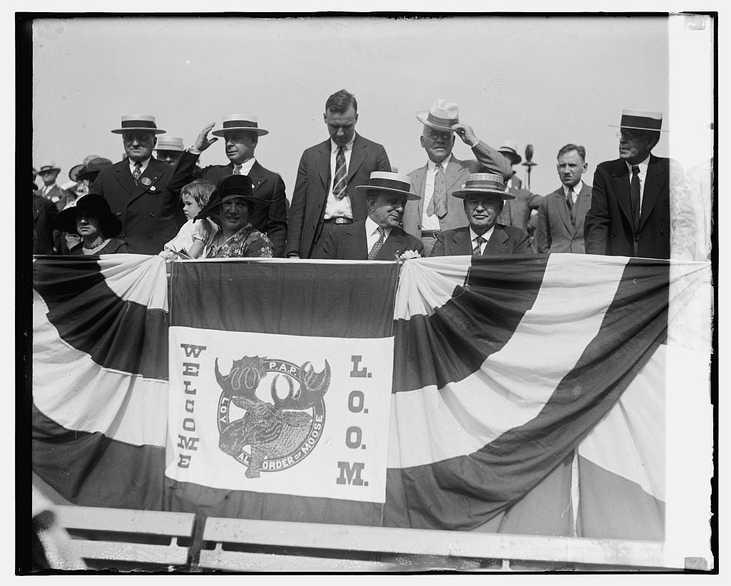 16 x 20 Gallery Wrapped Frame Art Canvas Print of Sec. & Mrs. Davis & Gov. Sinall at Moose Parade, 7/7/26 1926 National Photo Co  79a