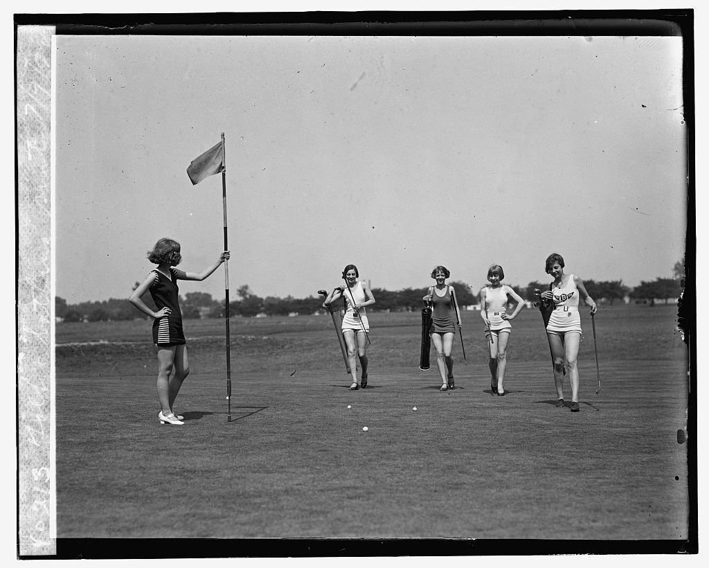 16 x 20 Gallery Wrapped Frame Art Canvas Print of Golf & bathing suits, 7/9/26 1926 National Photo Co  93a