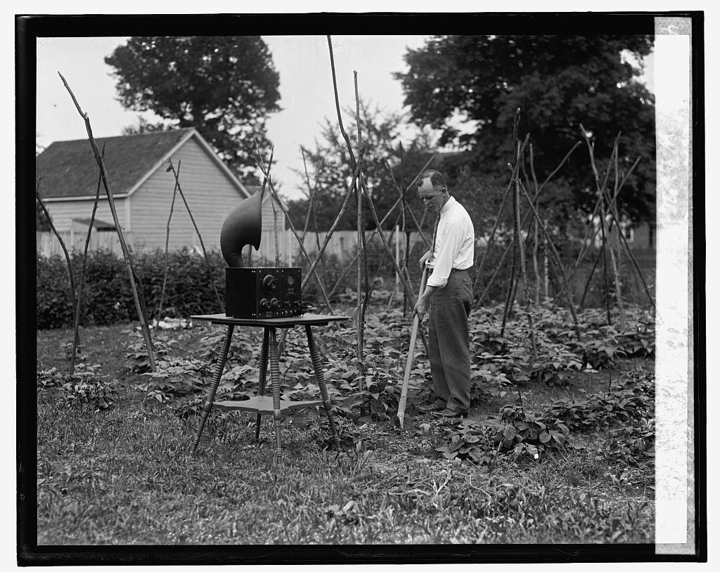 16 x 20 Gallery Wrapped Frame Art Canvas Print of W.D. Terrell in garden with radio, 7/7/26 1926 National Photo Co  97a