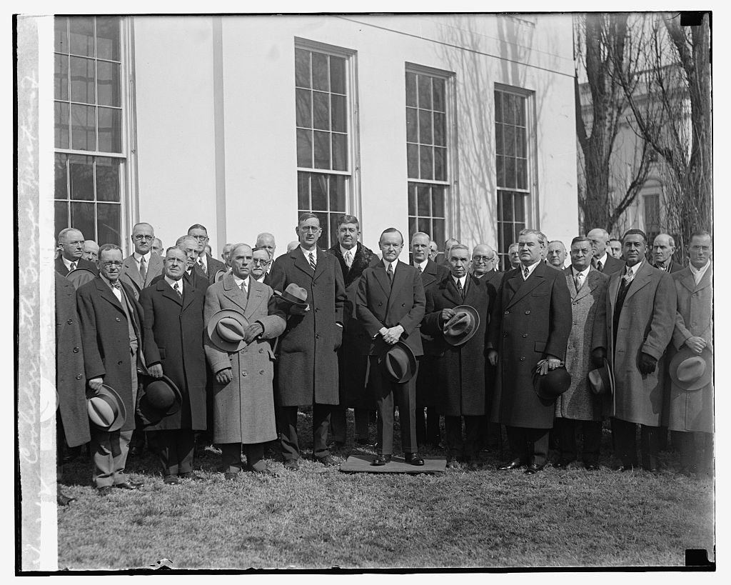 16 x 20 Reprinted Old Photo ofCoolidge with Grand Masters of Masons, 2/20/29 1929 National Photo Co  79a