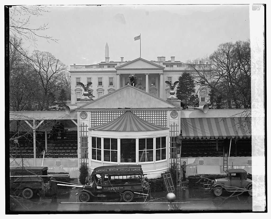 16 x 20 Reprinted Old Photo ofInaugural stand, White House, 3/2/29 1929 National Photo Co  17a