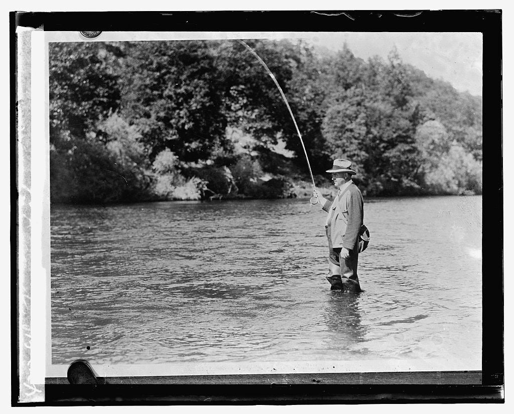 16 x 20 Reprinted Old Photo ofHoover fishing 1929 National Photo Co  38a