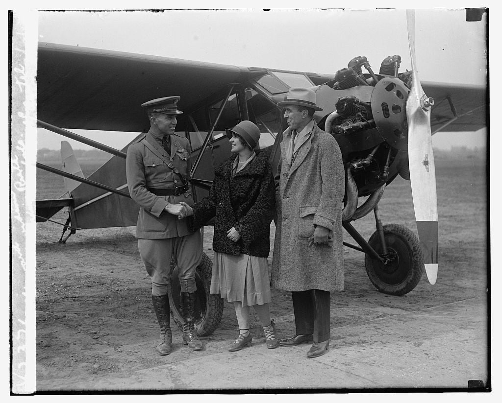 16 x 20 Reprinted Old Photo ofMaj. Howard P. Davidson, Miss Ruth Nichols, Robt. C. Oertel, 3/19/29 1929 National Photo Co  25a