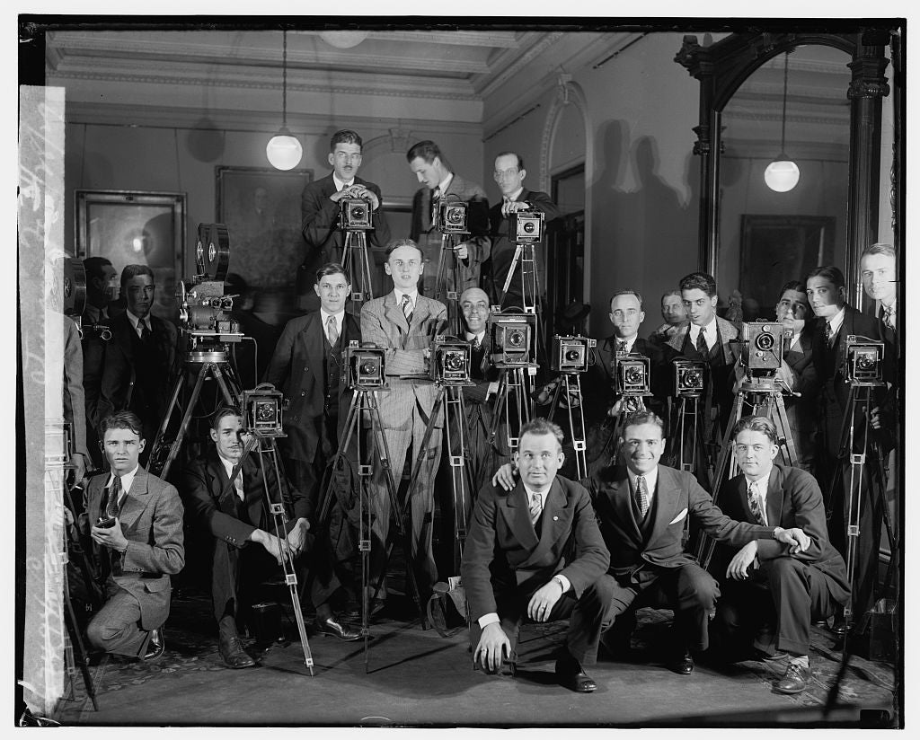 16 x 20 Reprinted Old Photo ofCameramen, Stimson ofc., 3/28/29 1929 National Photo Co  29a