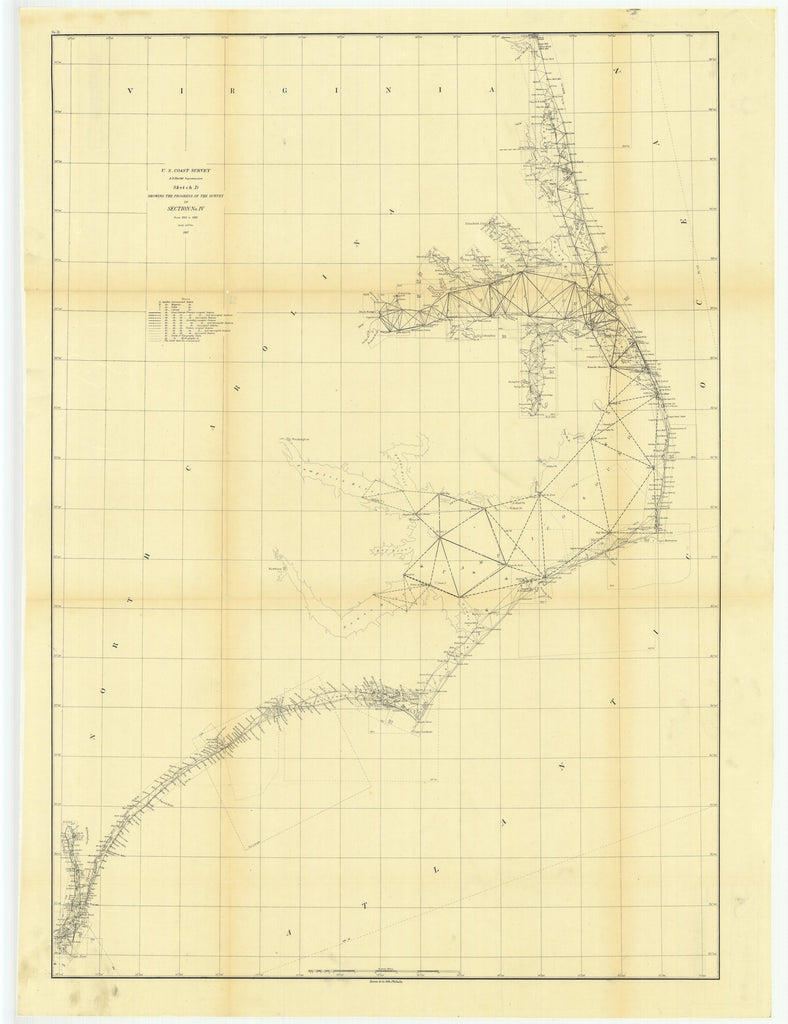18 x 24 inch 1862 North Carolina old nautical map drawing chart of Sketch D Showing the Progress of the Survey in Section Number 4 from 1845 to 1862 From  U.S. Coast Survey x7183
