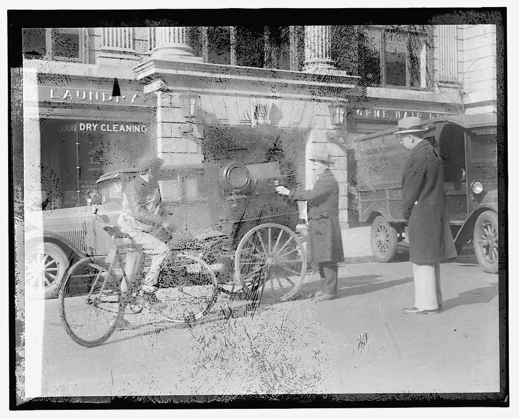 16 x 20 Gallery Wrapped Frame Art Canvas Print of Street scene: bike, cart near laundry 1921 National Photo Co  48a