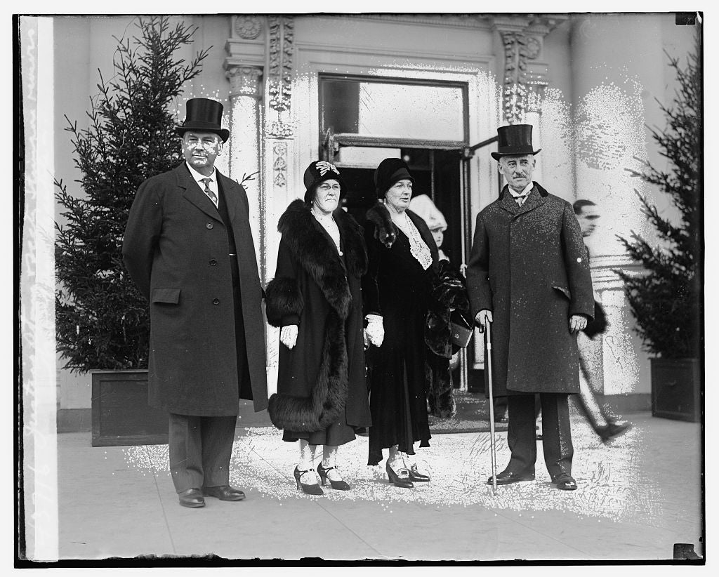 8 x 10 Reprinted Old Photo of Justice Stowe & Secty. Stimson receives New Year Reception 1921 National Photo Co  53a