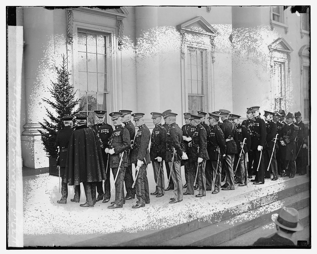 16 x 20 Gallery Wrapped Frame Art Canvas Print of Marine officers, New Year Reception 1921 National Photo Co  65a