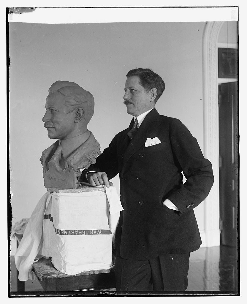 16 x 20 Reprinted Old Photo ofWar Secretary poses for bust by noted sculptor. Secretary of War Patrick J. Hurley posing for the final touch of a bust of himself which is ne 1930 National Photo Co  54a