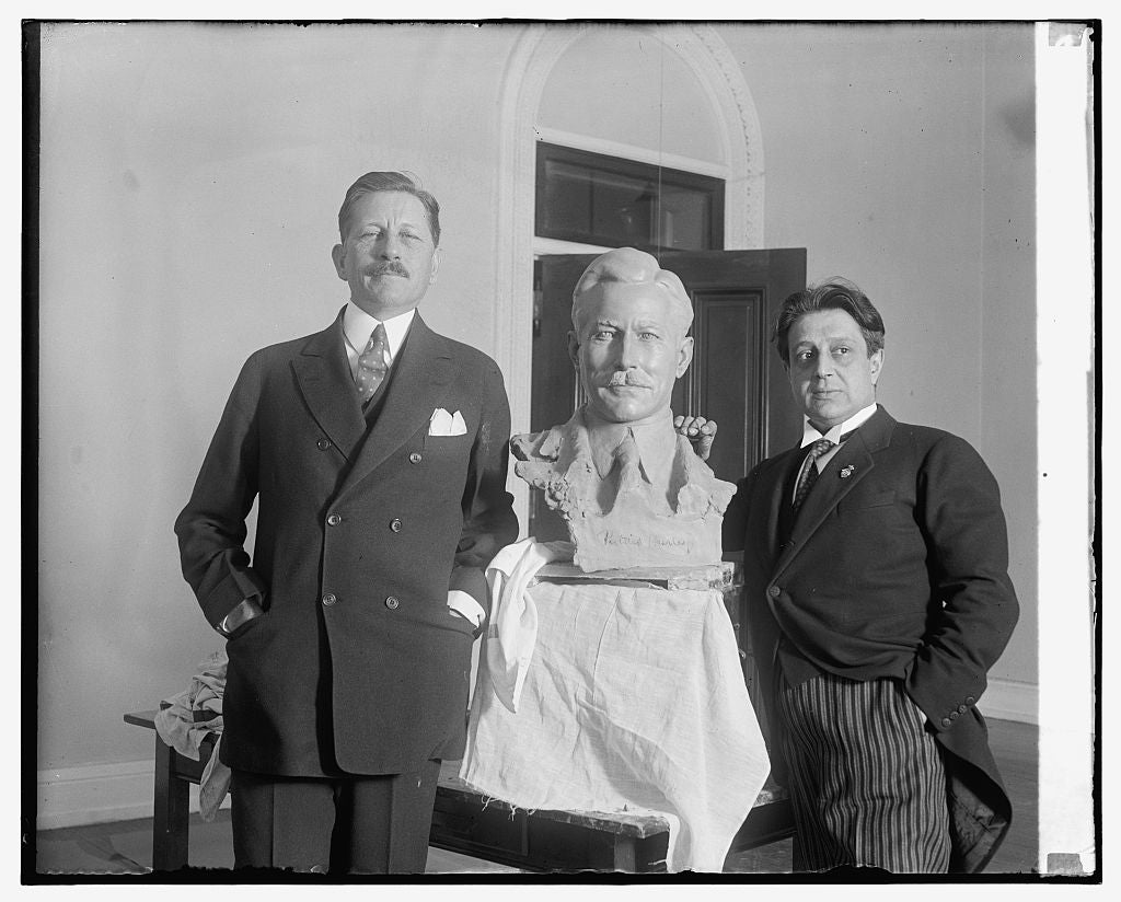 16 x 20 Gallery Wrapped Frame Art Canvas Print of War Secretary poses for bust by noted sculptor. Secretary of War Patrick J. Hurley posing for the final touch of a bust of 1930 National Photo Co  74a
