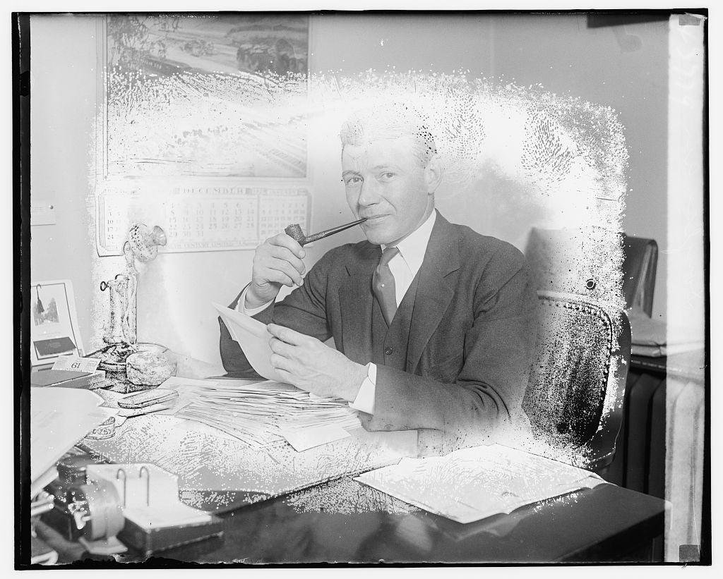 8 x 10 Reprinted Old Photo of Unidentified man seated at desk 1921 National Photo Co  13a