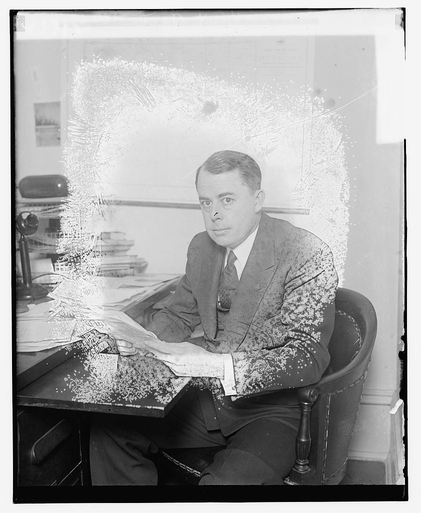 8 x 10 Reprinted Old Photo of Unidentified man seated at desk 1921 National Photo Co  16a