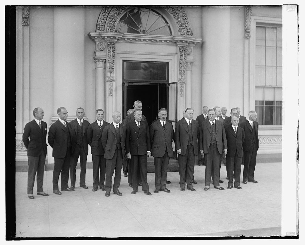 16 x 20 Gallery Wrapped Frame Art Canvas Print of Hoover with Arms Conf. Delegation 1921 National Photo Co  82a