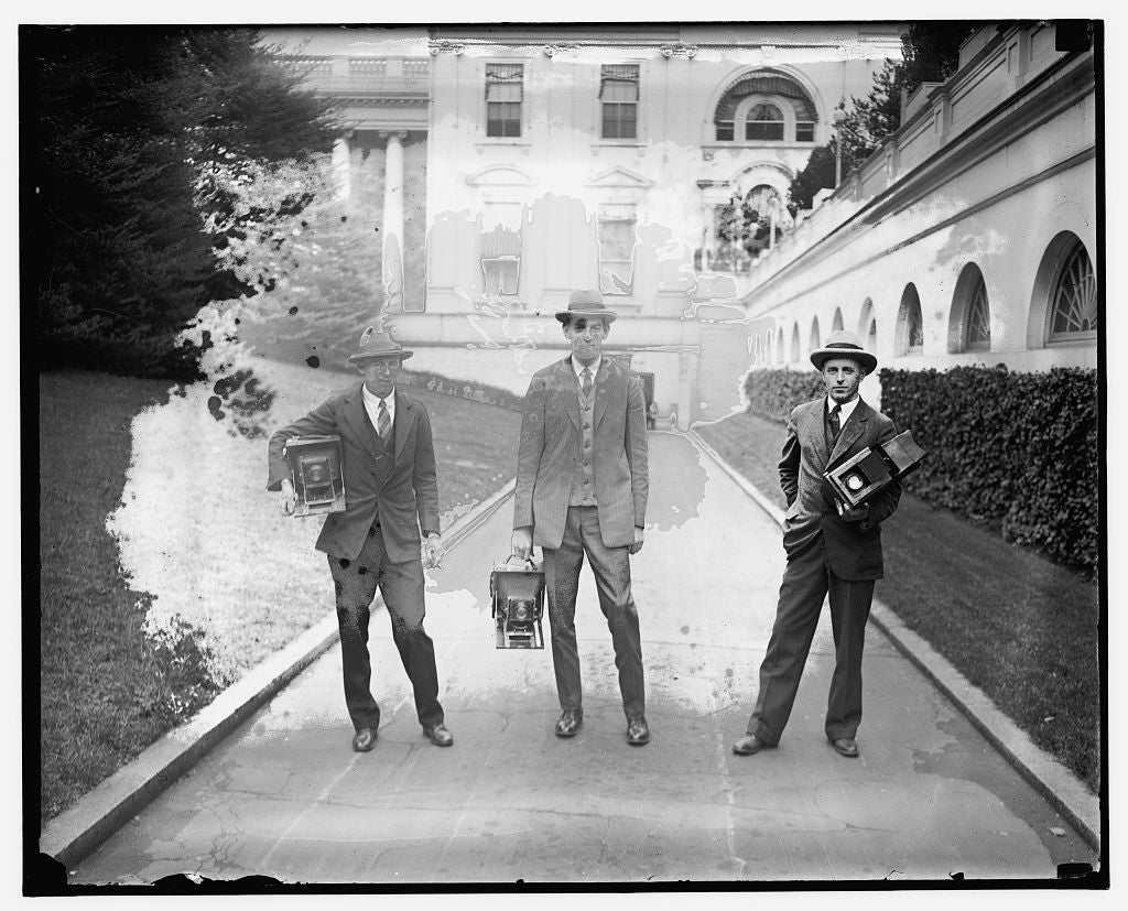 16 x 20 Gallery Wrapped Frame Art Canvas Print of  Man in suit carrying equipment cases in stadium 1909 National Photo Co  84a