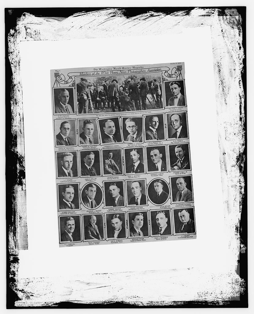 "16 x 20 Reprinted Old Photo of Page from the Washington Herald Gravure Magazine: ""Members of the White House News Photographers Association, October 8, 1922"" 1909 National Photo Co  49a"