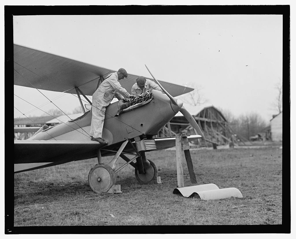 16 x 20 Gallery Wrapped Frame Art Canvas Print of  Men examining airplane engine 1909 National Photo Co  92a