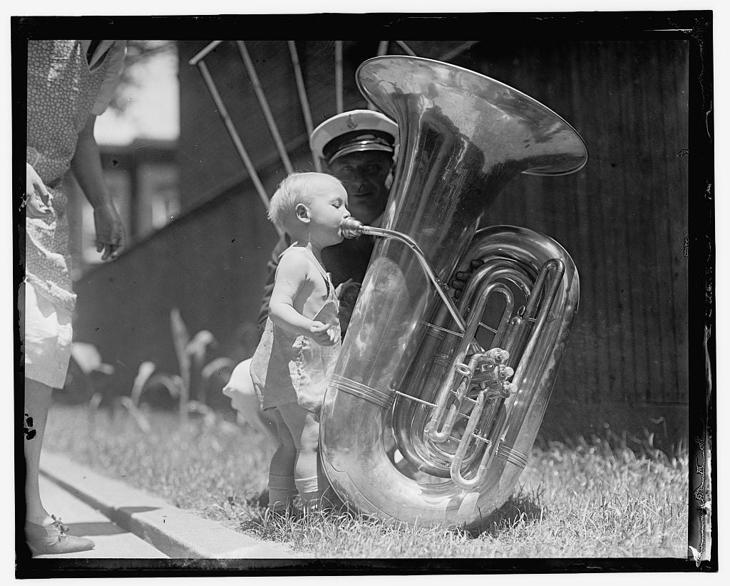 16 x 20 Gallery Wrapped Frame Art Canvas Print of  Child with tuba 1909 National Photo Co  04a