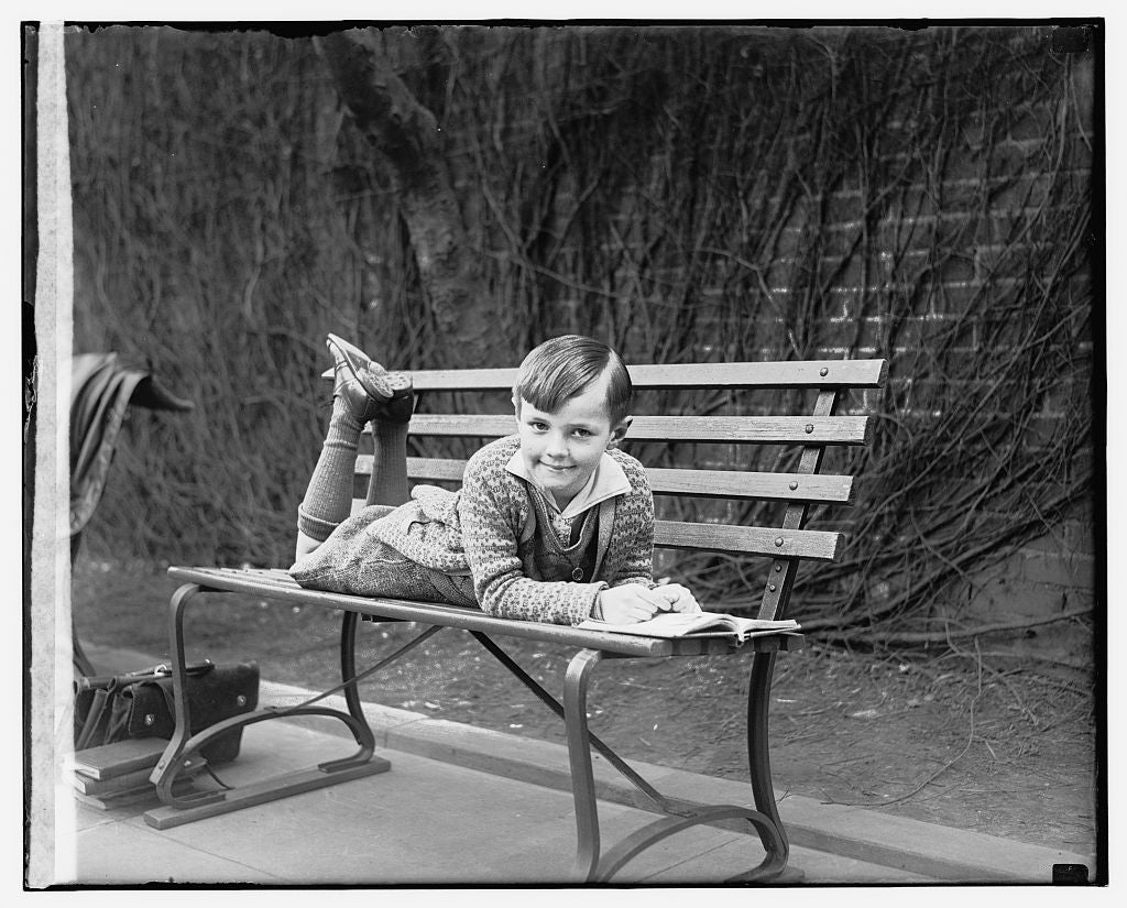 16 x 20 Gallery Wrapped Frame Art Canvas Print of  Child lying on outdoor bench 1909 National Photo Co  07a