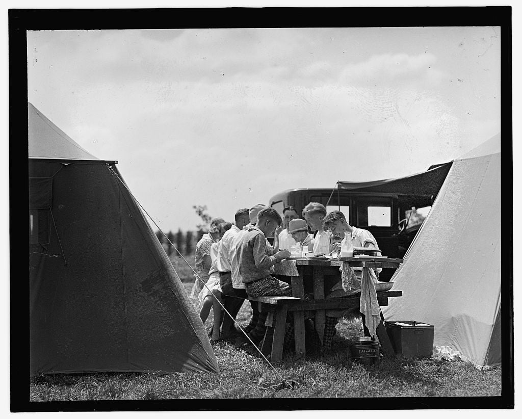 16 x 20 Gallery Wrapped Frame Art Canvas Print of  Camping 1909 National Photo Co  58a