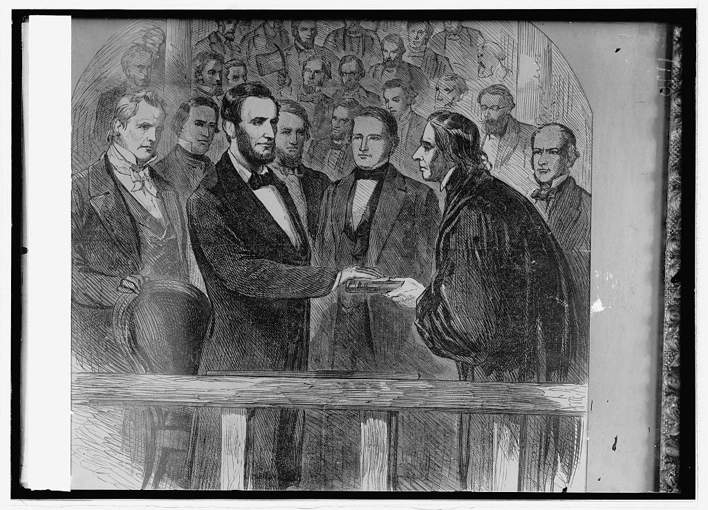 16 x 20 Reprinted Old Photo ofLincoln sworn in by Chief Justice Taney 1914 National Photo Co  85a