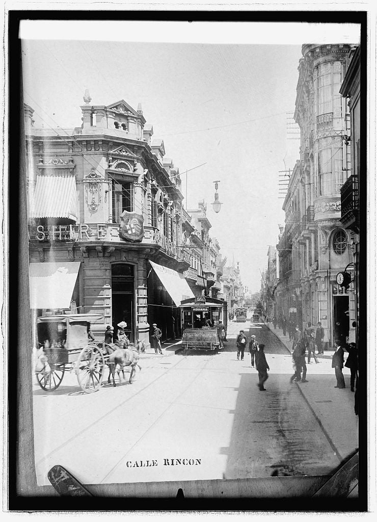 8 x 10 Reprinted Old Photo of Business street in Montevideo 1914 National Photo Co  46a