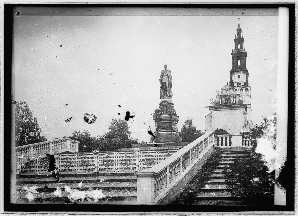 8 x 10 Reprinted Old Photo of Miss Katie Stone, monument to Czar Alexander II Czenstockow, Russia 1914 National Photo Co  68a