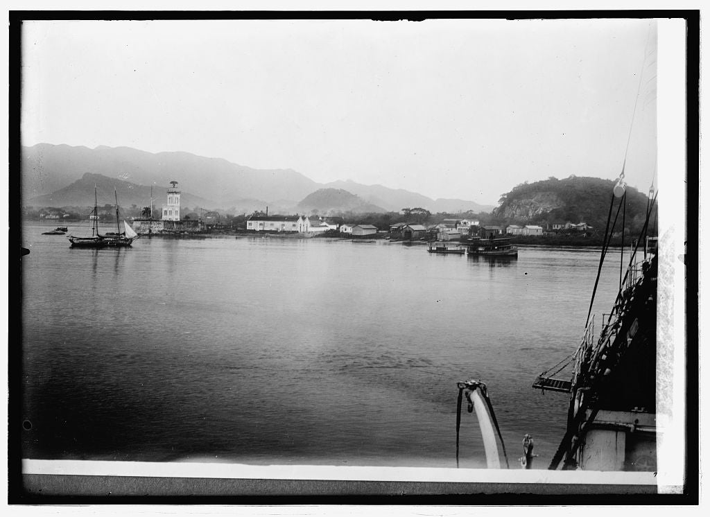 16 x 20 Reprinted Old Photo ofBrazil. Harbor at Santos from which [...] of copper are shipped 1914 National Photo Co  88a