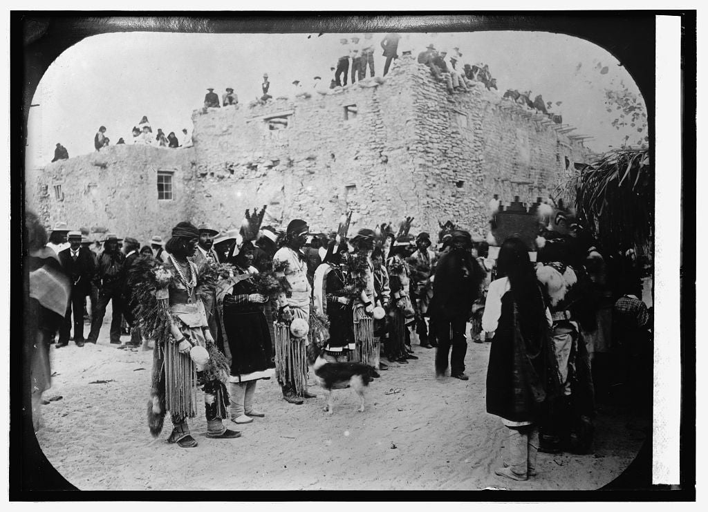 8 x 10 Reprinted Old Photo of Harvest Dance, Hopi Indians 1914 National Photo Co  17a