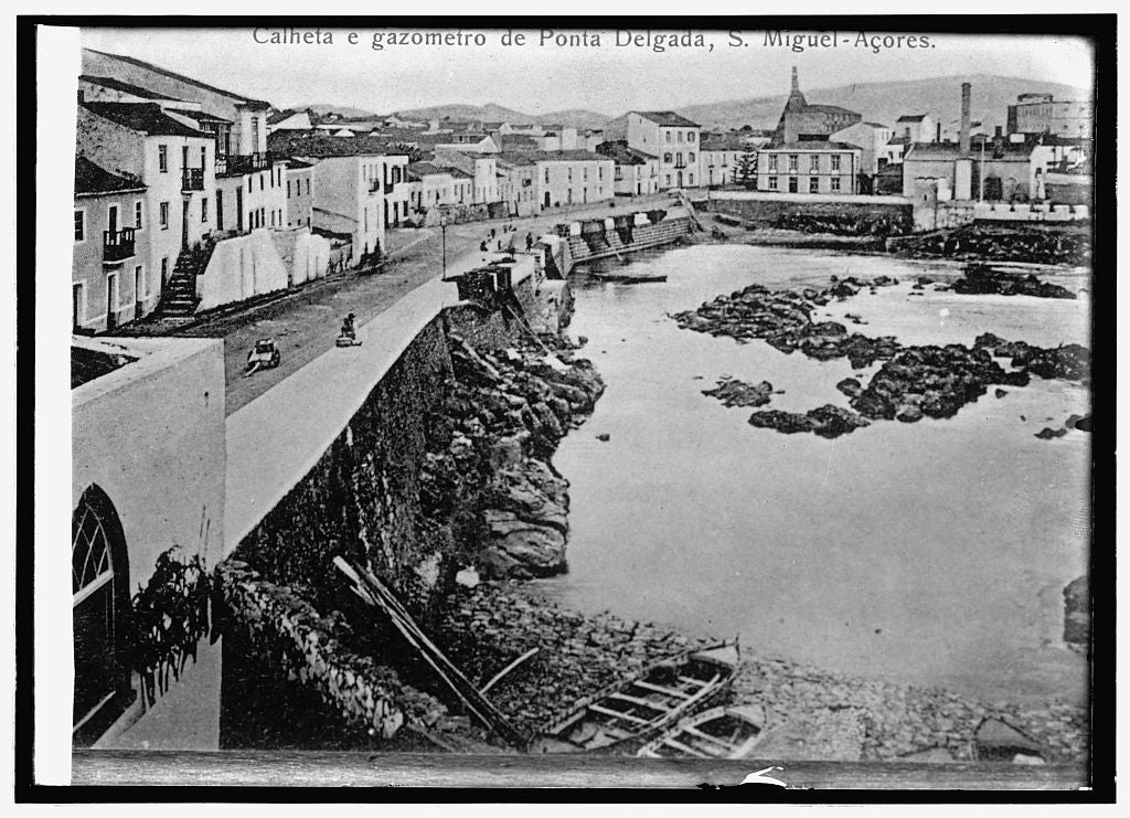 16 x 20 Reprinted Old Photo ofSpain, waterfront at Delgada, in the Azores 1914 National Photo Co  54a