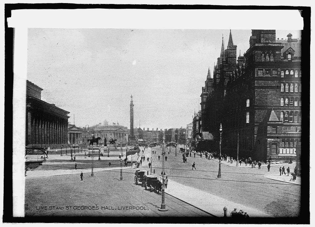 8 x 10 Reprinted Old Photo of Lime St. & St. Georges Hall, Liverpool 1914 National Photo Co  17a