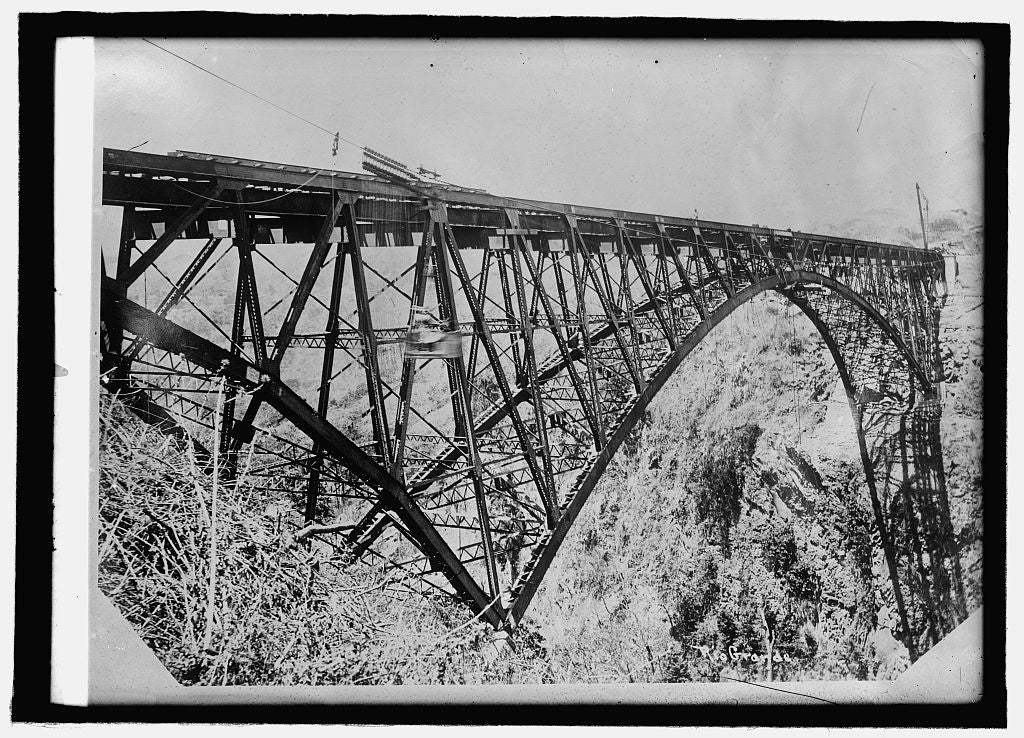 8 x 10 Reprinted Old Photo of Viaduct over Rio Grande, Costa Rica 1914 National Photo Co  30a