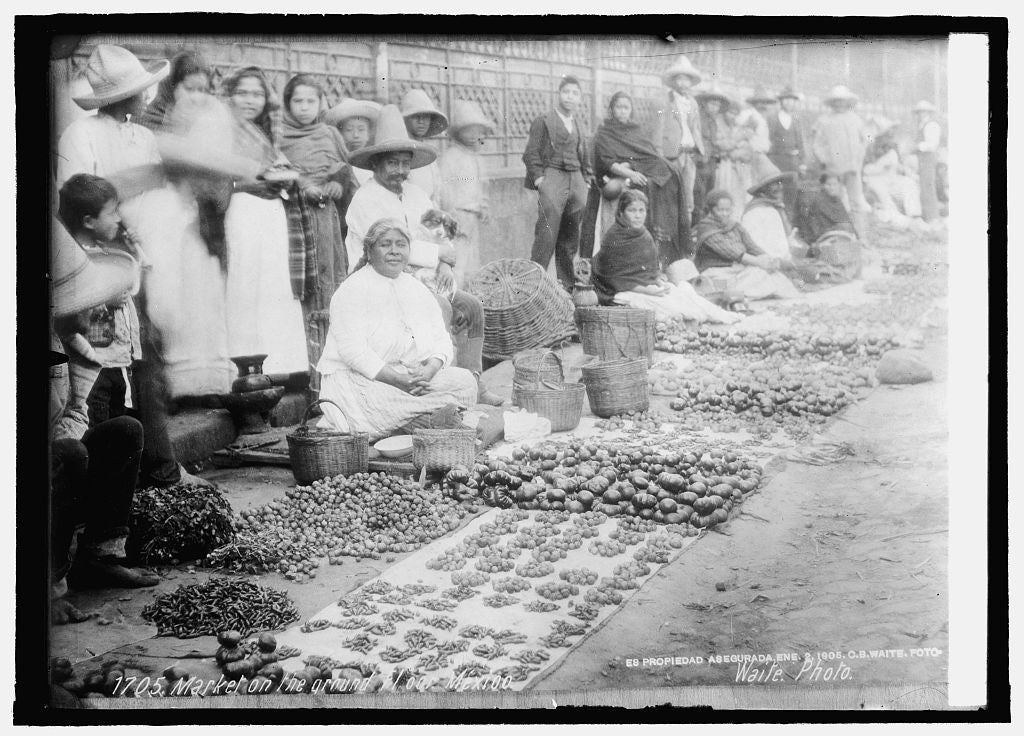 8 x 10 Reprinted Old Photo of Market on the ground floor, Mexico 1914 National Photo Co  37a