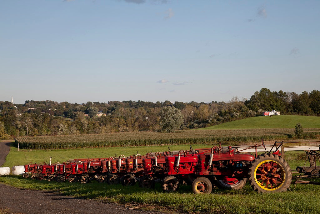 18 x 24 Photograph reprinted on fine art canvas  of Red tractors at a tobacco barn in Suffield Connecticut r80 2011 October by Highsmith, Carol M.