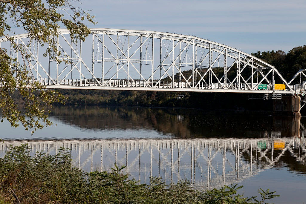 18 x 24 Photograph reprinted on fine art canvas  of East Haddam Bridge over the Connecticut River East Haddam Connecticut r01 2011 October by Highsmith, Carol M.